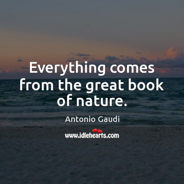 Everything comes from the great book of nature. Image