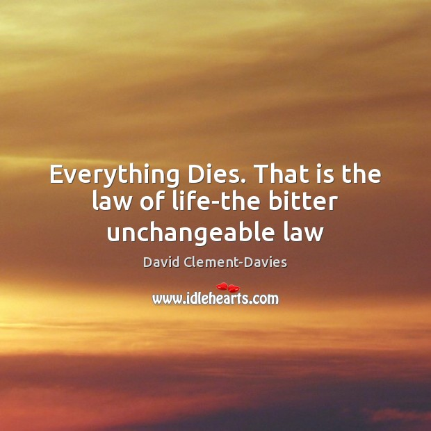 Everything Dies. That is the law of life-the bitter unchangeable law Image