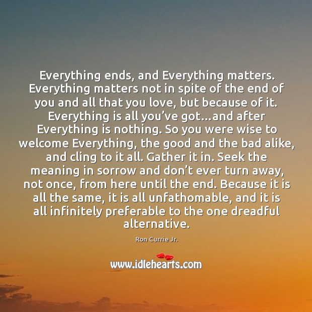 Everything ends, and Everything matters. Everything matters not in spite of the Ron Currie Jr. Picture Quote