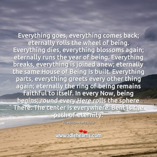Image, Everything goes, everything comes back; eternally rolls the wheel of being. Everything