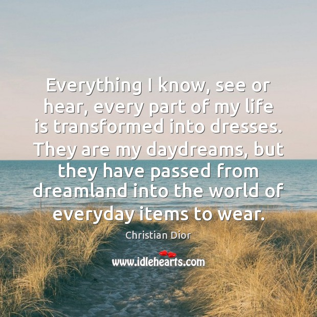 Everything I know, see or hear, every part of my life is Image