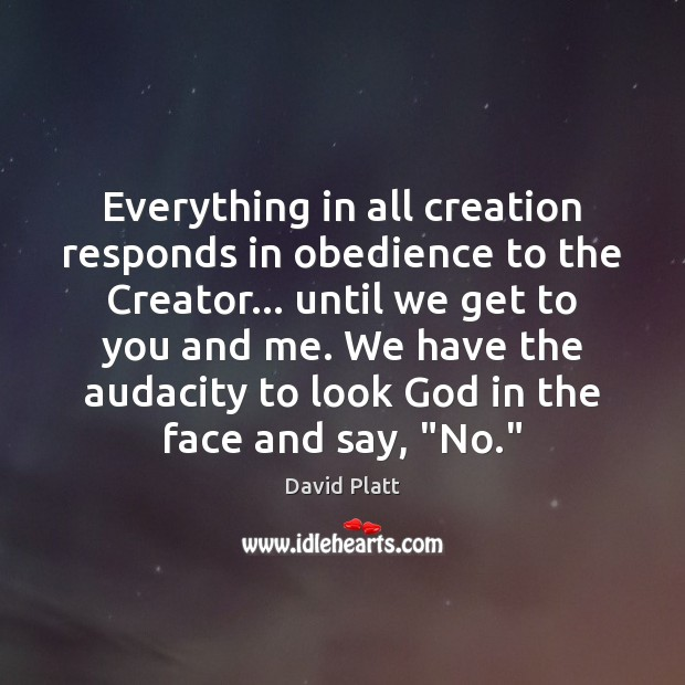 Everything in all creation responds in obedience to the Creator… until we Image