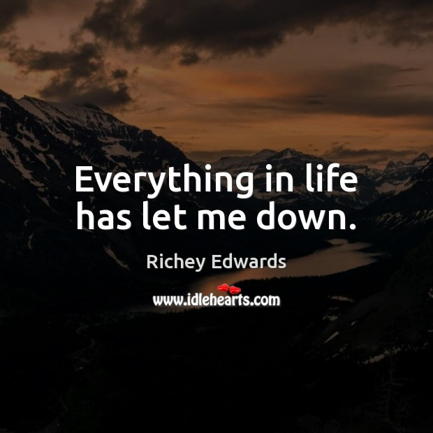 Everything in life has let me down. Richey Edwards Picture Quote