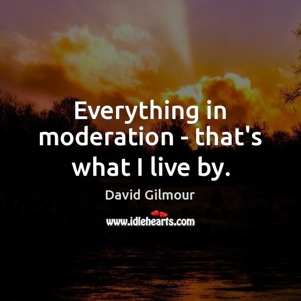 Everything in moderation – that's what I live by. Image