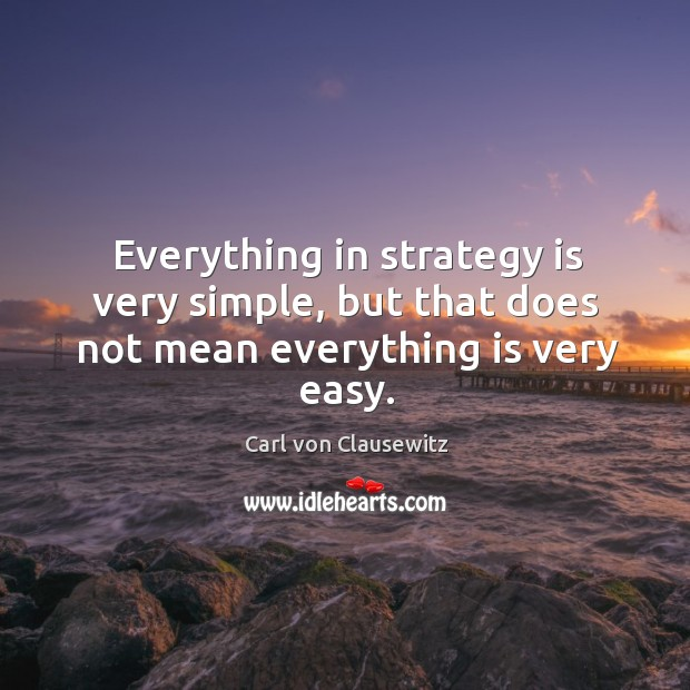 Image, Everything in strategy is very simple, but that does not mean everything is very easy.