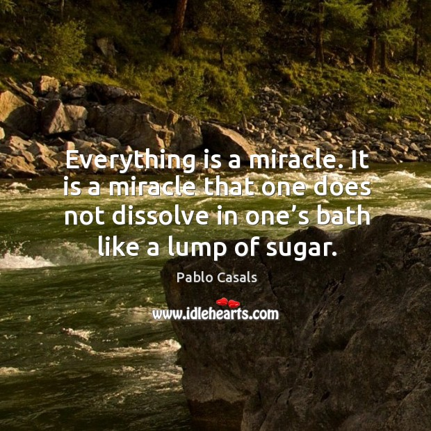 Image, Everything is a miracle. It is a miracle that one does not dissolve in one's bath like a lump of sugar.