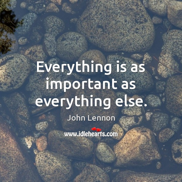 Everything is as important as everything else. Image