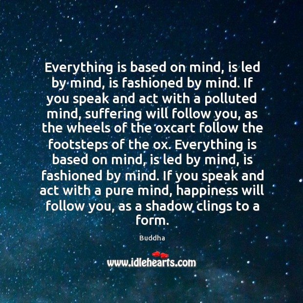 Everything is based on mind, is led by mind, is fashioned by mind. If you speak and act with a polluted mind Buddha Picture Quote