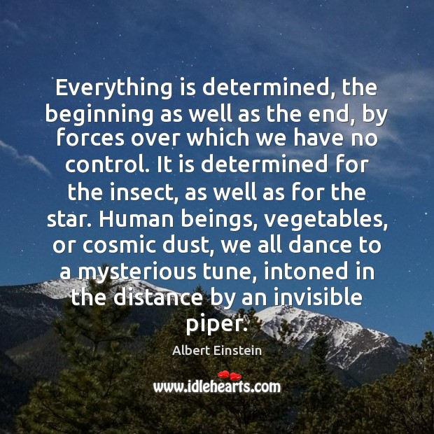 Everything is determined, the beginning as well as the end, by forces Image