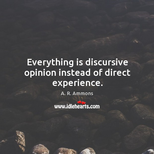 Everything is discursive opinion instead of direct experience. Image