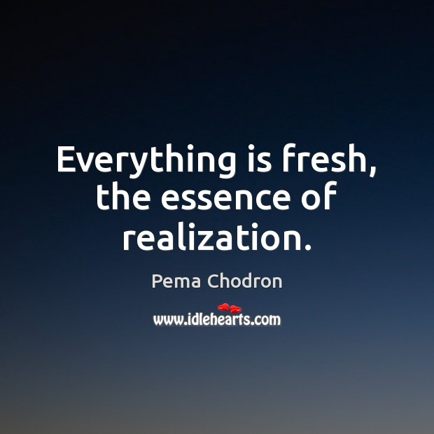 Image, Everything is fresh, the essence of realization.