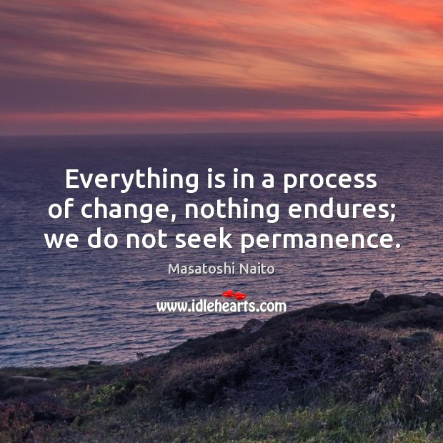 Everything is in a process of change, nothing endures; we do not seek permanence. Image
