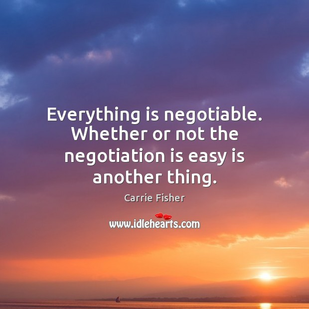 Everything is negotiable. Whether or not the negotiation is easy is another thing. Image