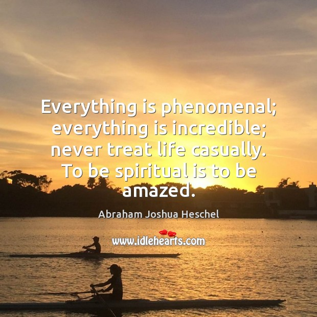 Image, Everything is phenomenal; everything is incredible; never treat life casually. To be