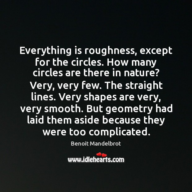 Everything is roughness, except for the circles. How many circles are there Benoit Mandelbrot Picture Quote