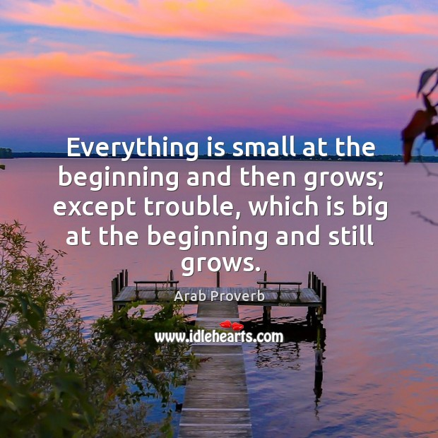 Everything is small at the beginning and then grows Arab Proverbs Image