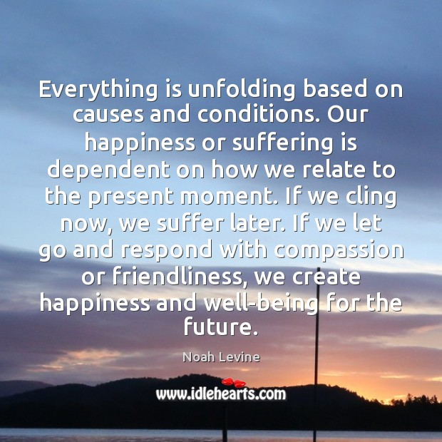 Everything is unfolding based on causes and conditions. Our happiness or suffering Image