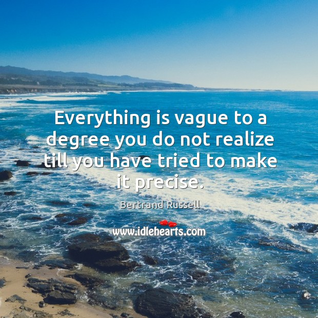 Everything is vague to a degree you do not realize till you have tried to make it precise. Image