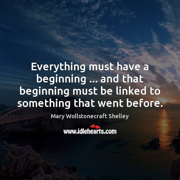 Everything must have a beginning … and that beginning must be linked to Image