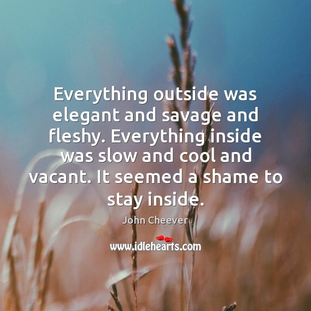Everything outside was elegant and savage and fleshy. Everything inside was slow John Cheever Picture Quote
