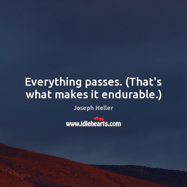 Everything passes. (That's what makes it endurable.) Joseph Heller Picture Quote