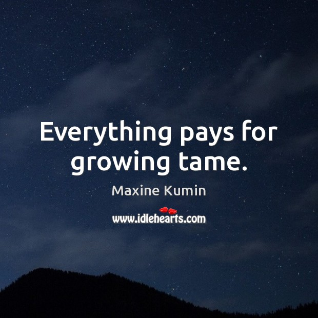 Image, Everything pays for growing tame.