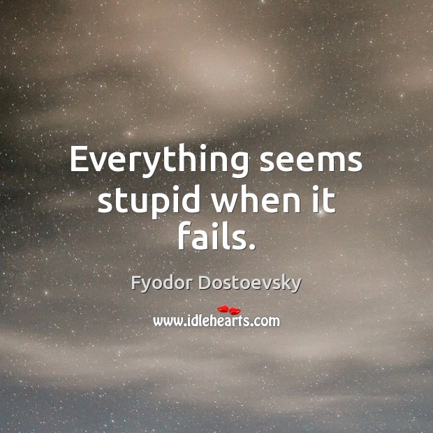 Everything seems stupid when it fails. Image