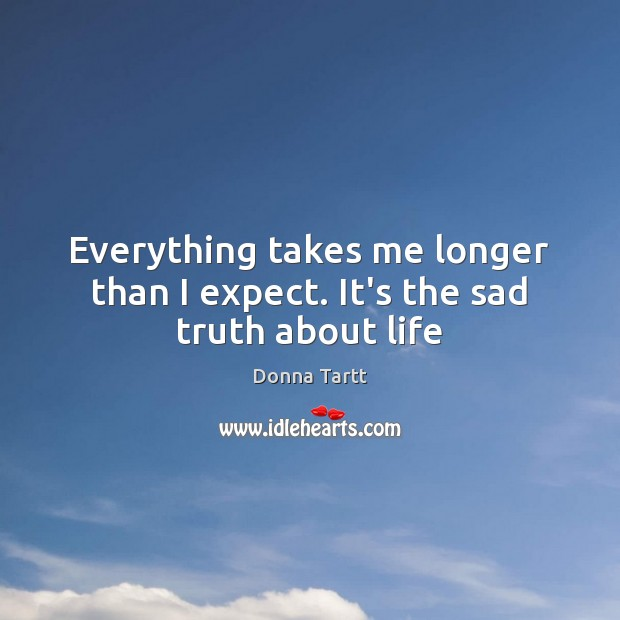 Everything takes me longer than I expect. It's the sad truth about life Image