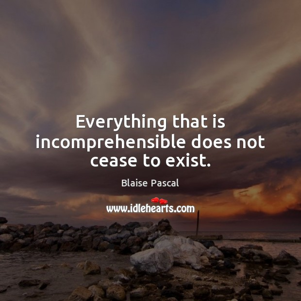 Everything that is incomprehensible does not cease to exist. Image