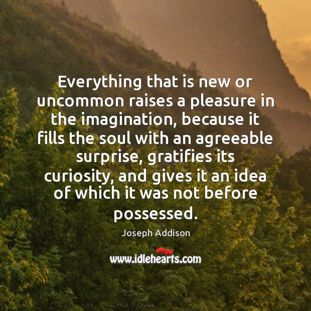 Everything that is new or uncommon raises a pleasure in the imagination, Image