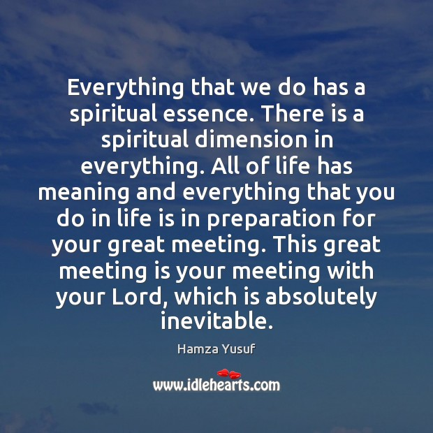 Everything that we do has a spiritual essence. There is a spiritual Hamza Yusuf Picture Quote