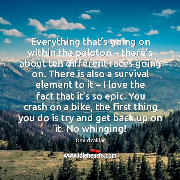 Everything that's going on within the peloton – there's about ten different races going on. David Millar Picture Quote