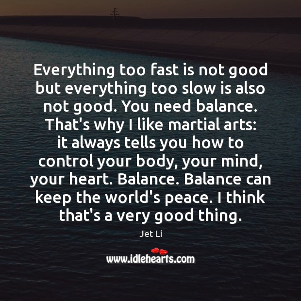 Everything too fast is not good but everything too slow is also Jet Li Picture Quote