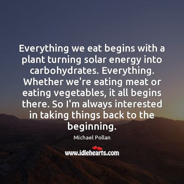Everything we eat begins with a plant turning solar energy into carbohydrates. Michael Pollan Picture Quote