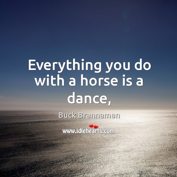 Image, Everything you do with a horse is a dance,