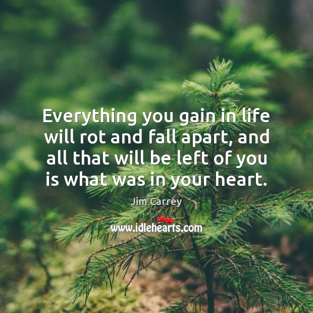 Everything you gain in life will rot and fall apart, and all Jim Carrey Picture Quote