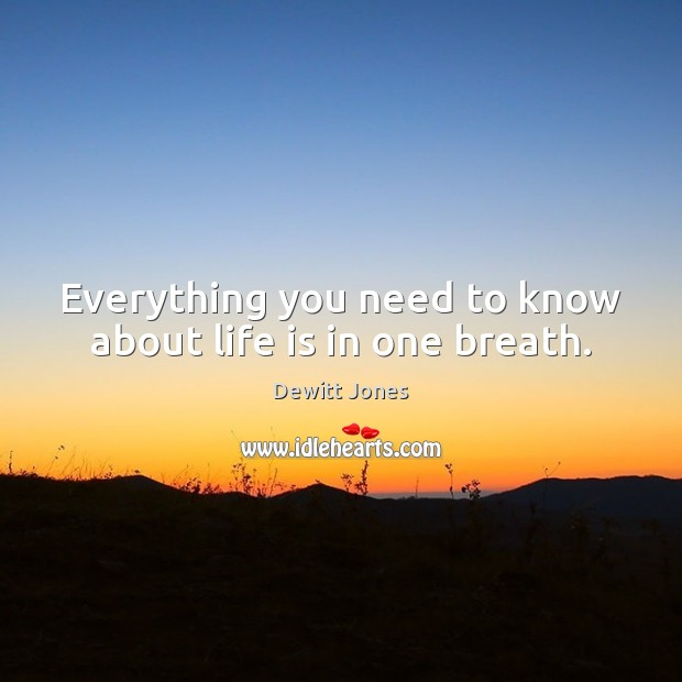 Everything you need to know about life is in one breath. Dewitt Jones Picture Quote