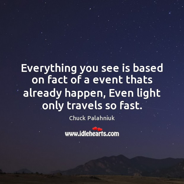 Everything you see is based on fact of a event thats already Chuck Palahniuk Picture Quote
