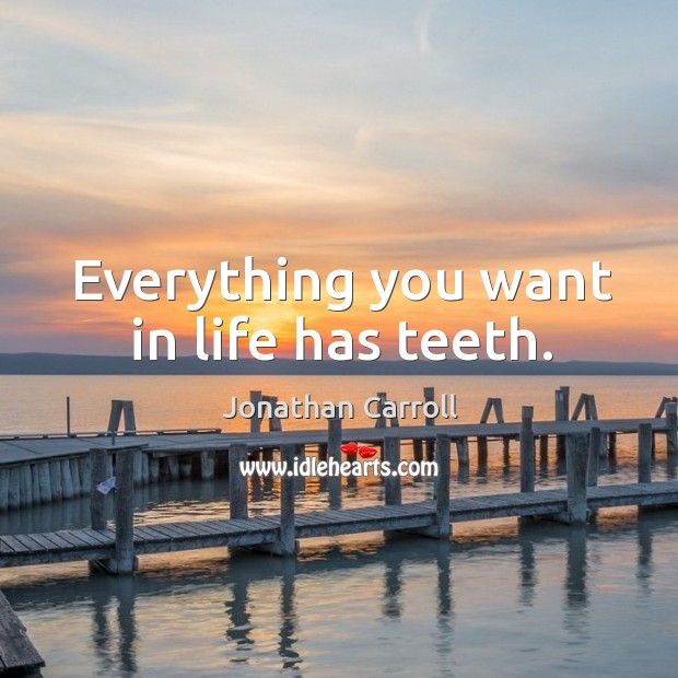 Everything you want in life has teeth. Image