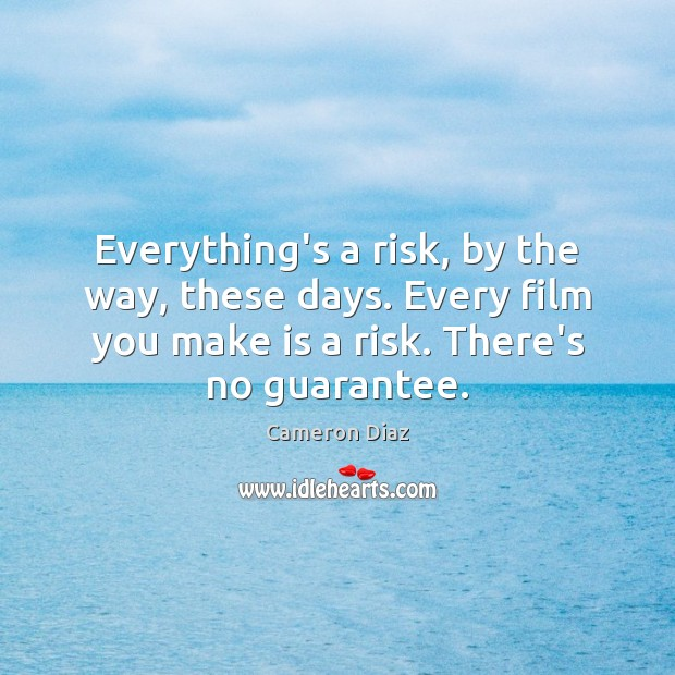 Everything's a risk, by the way, these days. Every film you make Cameron Diaz Picture Quote