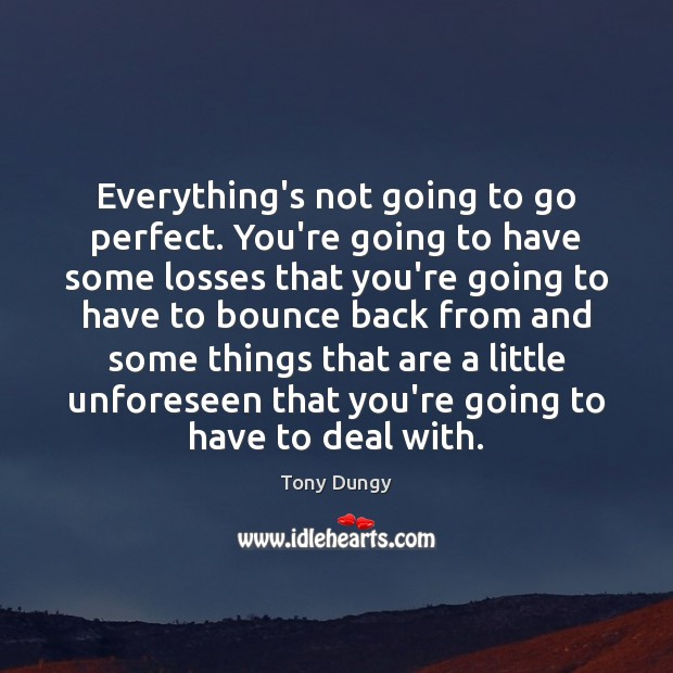 Everything's not going to go perfect. You're going to have some losses Tony Dungy Picture Quote