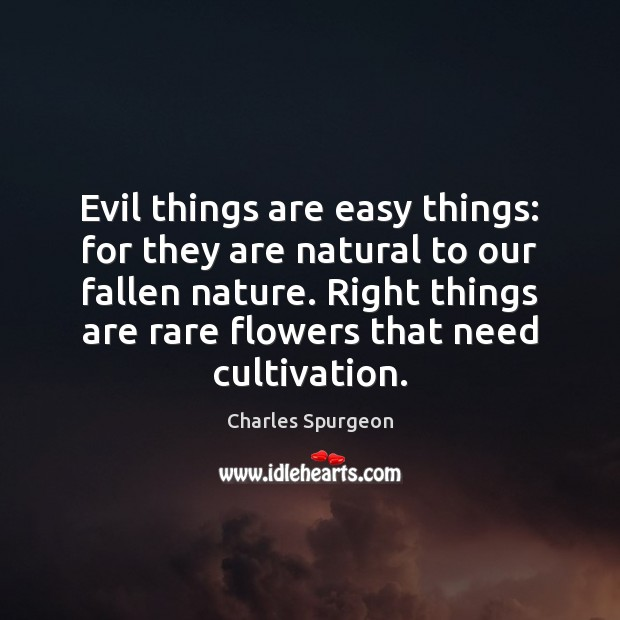 Evil things are easy things: for they are natural to our fallen Charles Spurgeon Picture Quote