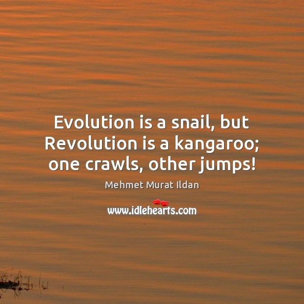 Evolution is a snail, but Revolution is a kangaroo; one crawls, other jumps! Image