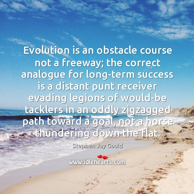 Image, Evolution is an obstacle course not a freeway; the correct analogue for