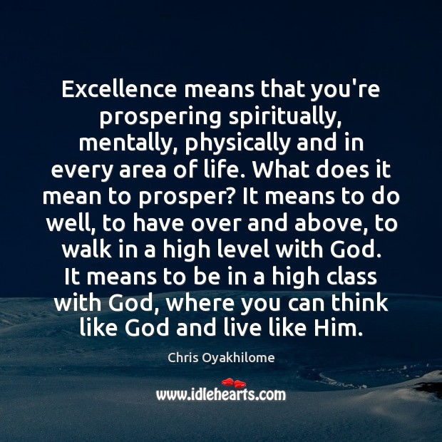 Excellence means that you're prospering spiritually, mentally, physically and in every area Chris Oyakhilome Picture Quote