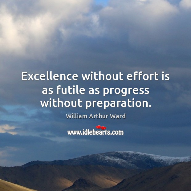 Image, Excellence without effort is as futile as progress without preparation.