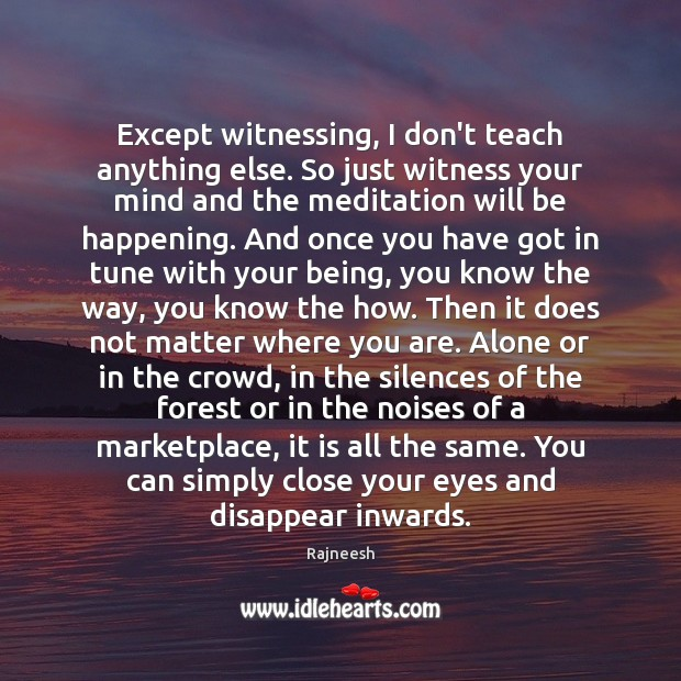 Image, Except witnessing, I don't teach anything else. So just witness your mind