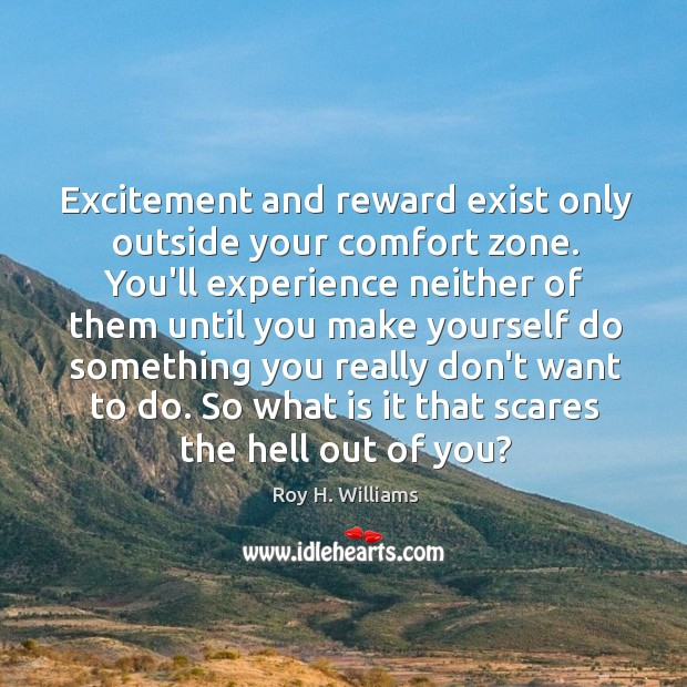 Excitement and reward exist only outside your comfort zone. You'll experience neither Roy H. Williams Picture Quote