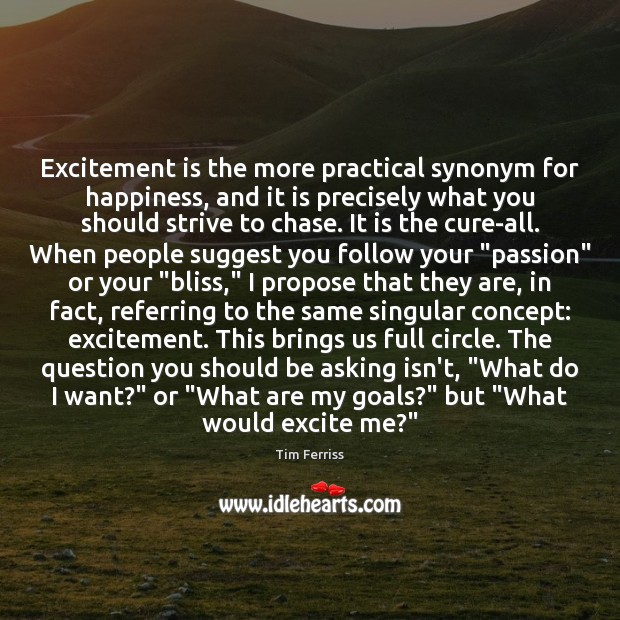 Excitement is the more practical synonym for happiness, and it is precisely Tim Ferriss Picture Quote