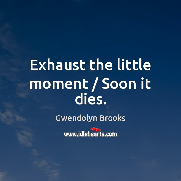 Exhaust the little moment / Soon it dies. Image